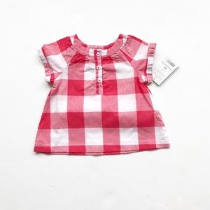 Carters NWT red/white buffalo plaid top 6 months